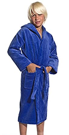 Cotton Terry Hooded Boys cover up bathrobes, Royal Blue, Small
