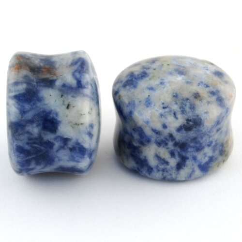 Pair of Lapis Stone Double Flared Domed Plugs: 5/8