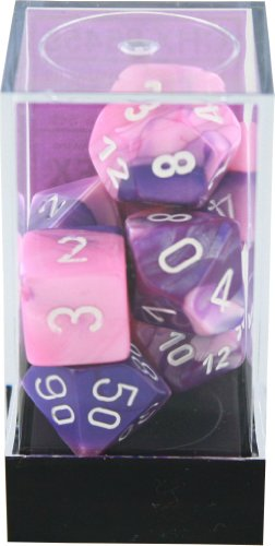 Polyhedral 7-Die Gemini Chessex Dice Set - Pink-Purple with White CHX-26455