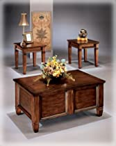 Hot Sale Rustic Dark Brown Occasional Table Set