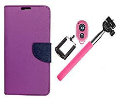 Novo Style Wallet Case Cover For Samsung GalaxyJ1 Ace Purple + Selfie Stick with Adjustable Phone Holder and Bluetooth Wireless Remote Shutter