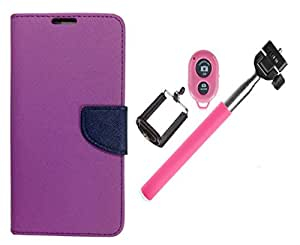 Novo Style Book Style Folio Wallet Case HTC Desire 826 Purple + Selfie Stick with Adjustable Phone Holder and Bluetooth Wireless Remote Shutter