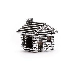 novobeads log cabin sterling silver charm bead