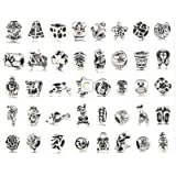 BeautyLife Antique Silver Plated Oxidized Metal Beads/Silver Lampwork Murano Glass European Beads Charms Set Mix Lot - Compatible with Pandora Biagi Troll Chamilia Bracelets (40Pcs Antique Silver Plated Oxidized Metal Beads)