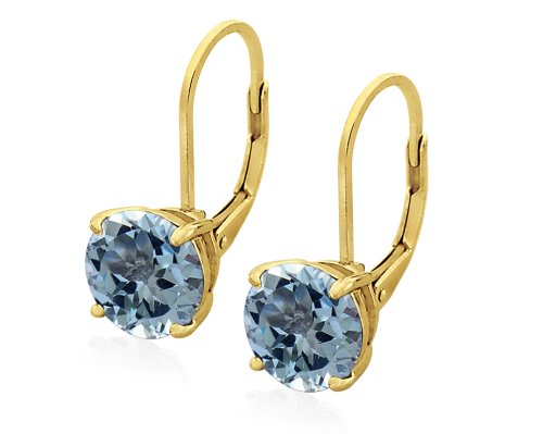 Gold Plated Sterling Silver 8mm Round Blue Topaz Earrings