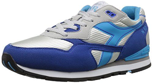Diadora Men's N92 Skate Shoe, Grey Alaska/Micro Blue, 10 M US