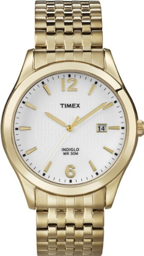 Timex Men's T2N849 Elevated Classics Dress White Dial Gold-Tone Expansion Band Watch