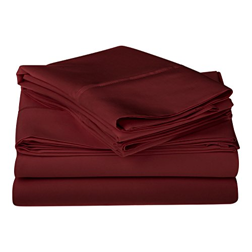 1200 Thread Count 100% Premium Long-Staple Combed Cotton, Single Ply, King Bed Sheet Set, Solid, Burgundy (Full Sheet Inc Modal compare prices)