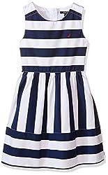 Nautica Girls' Multi-Directional Stripe Dress, Navy, 3T