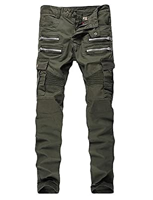 XLL Men'S Military Army Green Slim Stretch Denim Biker Jeans