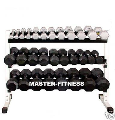 41yP9KY%2BdgL Dumbbell Rack 3 Tier 48 w/ 12 Pairs 5 60 Lb Grey Hexagon Dumbbells set with Rack & Rubber Mat.