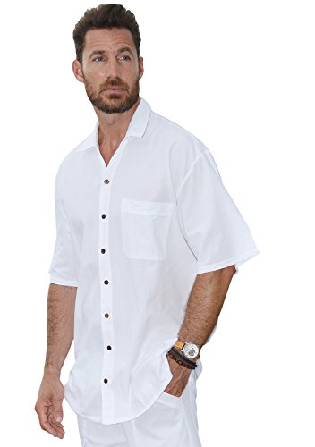 Cotton-Natural-Islander-Button-Down-Short-Sleeve-Mens-Shirt-Large-White