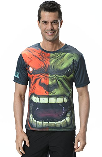 Cody Lundin Uomo Maglietta Maniche Corte Sport Training Running Manica Corta T-Shirt The Supereroe Verde Gigante Shirt (L, Verde Gigante)