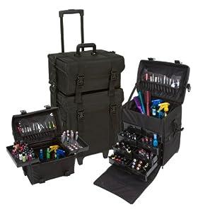 Seya 2 in 1 Black Fabric Professional Makeup Artist Rolling Makeup Train Case Cosmetic Scrapbook Organizer w/ Storage Drawers