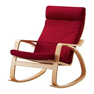 Ikea Poang Rocking Chair Birch Veneer With Dansbo Medium Red Cus