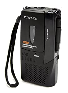 Craig Micro Cassette Voice Recorder with LED Recording Indicator (CR8003)