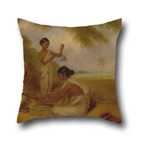 16 X 16 Inches / 40 By 40 Cm Oil Painting Arthur William Devis - Grinding Corn Throw Pillow Covers,two Sides Is Fit For Wife,husband,dinning Room,divan,family,office (Corn Chow compare prices)