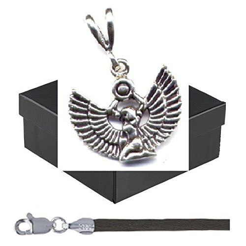 """Gift Boxed Isis Pendant With 18"""" Brown Satin Cord Sterling Silver Egyptian Style Jewelry Set front-54963"""