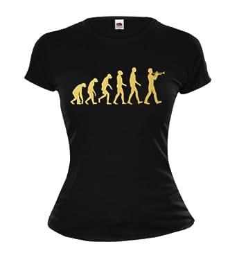 Girlie T-Shirt The Evolution of trumpet-XS-Black-Gold