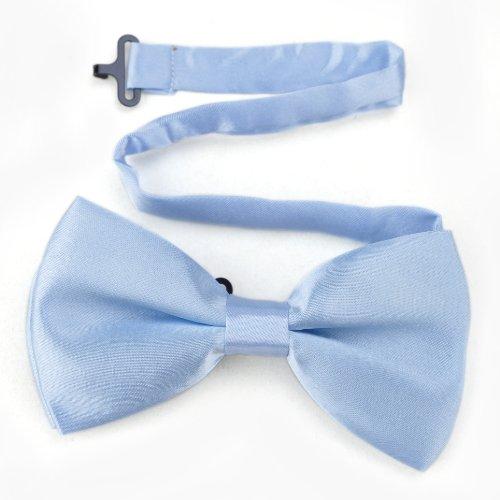 Toptie Mens Formal Solid Light Blue Satin Bow Tie