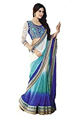 Nilkanth Enterprise Georgette Sky Blue And Blue And White Saree