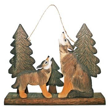 Wood Carved Wolf Family Pup Howling Sculpture, Tabletop, Hanger, 12-inch