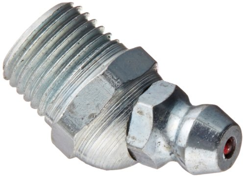 Alemite 1611-B Hydraulic Loose Fitting, 30 Degree Angle, OAL 29/32, Shank Length 19/64, Hex Size 7/16, 1/8 PTF 1 2 shank 22 5 degree chamfer