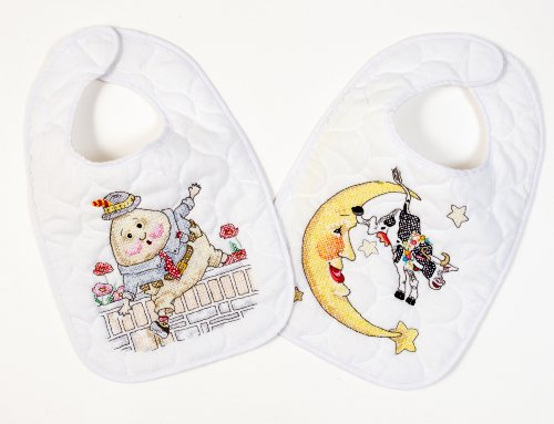 Bucilla Mary Engelbreit Mother Goose Bib Pair 8-1/2-Inches-by-14-Inches Stamped Cross Stitch, Set of 2 - 1
