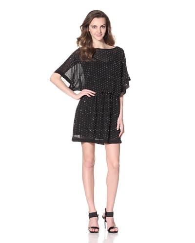 Alexia Admor Women's Beaded Blouson Chiffon Dress  [Black/Silver]