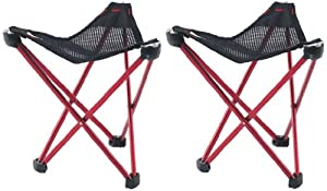 2 X ROBENS RED GEOGRAPHIC SMALL PORTABLE FOLDING STOOL SEAT CAMPING EQUIPMENT