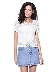 Wisstler Women's Off White Cotton Top Size - Large