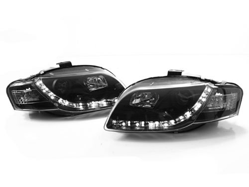 05-08 Audi A4 B7 Black E-Code Projector Headlights With S5 Style Led Strip - Halogen Only