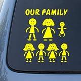 STICK FAMILY - Figures - Vinyl Car Decal Sticker #1648   Vinyl Color: Yellow