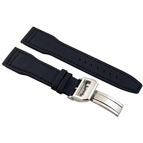 so-voir-22-mm-sangle-en-cuir-bracelet-de-montre-en-tissu-noir-pilot-broches-argent-avec-boucle-deplo