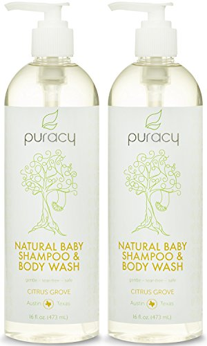 Puracy 100% Natural Baby Shampoo & Body Wash - Sulfate-Free - THE BEST Bubble Bath - Developed By Doctors for Children of All Ages - Gentle - Tear-Free - Hypoallergenic - Vegan - Gluten-Free - Citrus Essential Oils, 16 Ounce (Pack of 2)