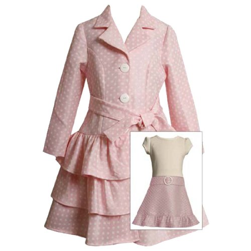 Size-5 BNJ-7016R PINK WHITE TIERED POLKA DOT Special Occasion Wedding Flower Girl Easter Party Dress/Coat Set,R37016 Bonnie Jean Girls 4-6X