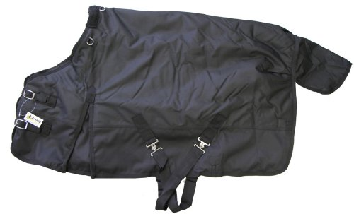 "1200D Medium Weight Pony Turnout Blanket Black, 62"" front-777535"