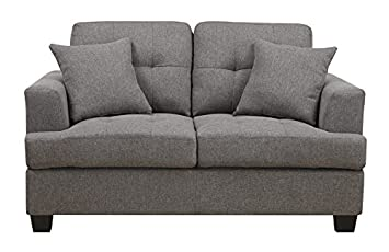 Emerald Home U3610A-01-13 Clearview Loveseat with 2 Pillows - Grey