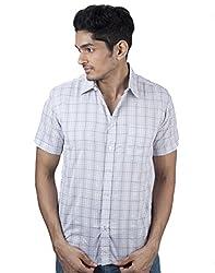 Mavango Modish Grey & Blue Checkered Regular Fit Men's Casual Cotton Shirt