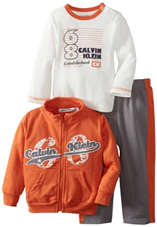 Calvin Klein Baby-Boys Infant Jacket With Bodysuit And Gray Pant, Orange, 12 Months