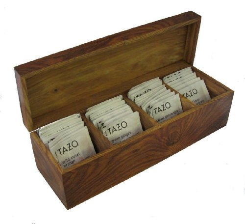 Exotic Burled Rosewood Wood Tea Box Sampler with 44 TAZO Teabags in 11 Flavors , Hinged Hardwood Tea Chest (No veneer, no MDF, no particle board!) 13.5