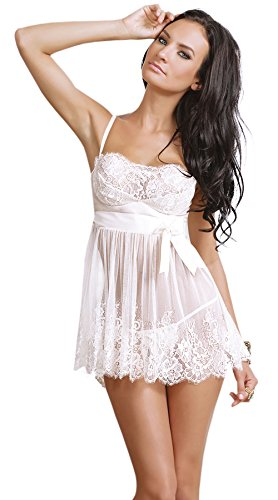 Moonight Women's Sheer Bow Strap Dress Lace Lingerie (XL, White)