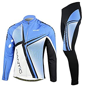 NEW-SANTIC-Mens Blue and Black Fleece Long Sleeve Cycling Suit , XXL by ELCE Stock