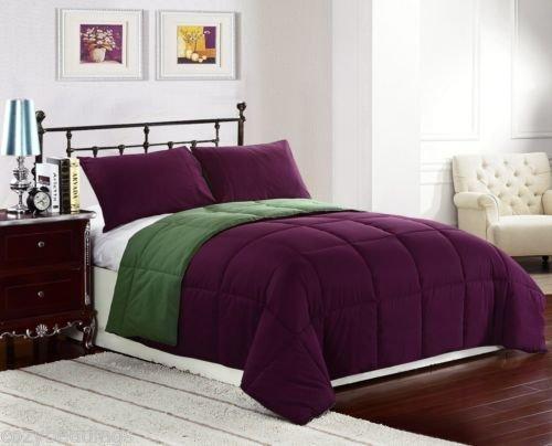 Purple/ Olive - Reversible Down Alternative Comforter Set Twin, Full/Queen, King front-887471