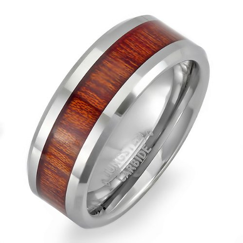 Tungsten Carbide Men's Ladies Unisex Ring Wedding Band 8MM (5/16 inch) Flat Beveled Edges Shiny Wood Inlay Comfort Fit (Available in Sizes 8 to 10) size 9