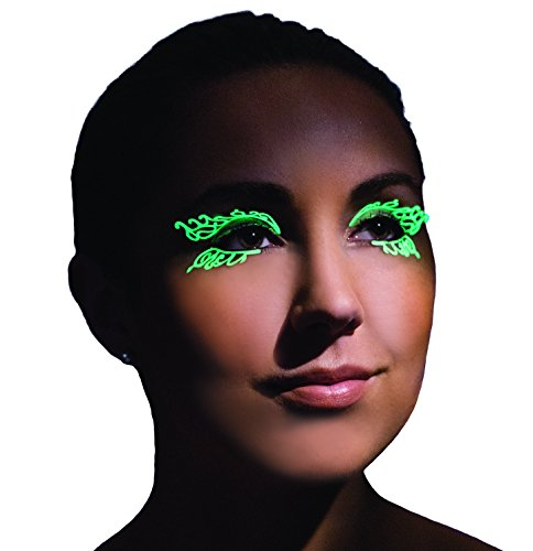 Party King Women's Glow In The Dark Double Swirl Eyelashes, White, One Size