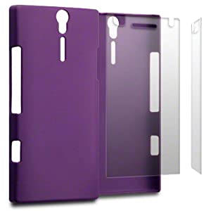 PURPLE SONY XPERIA S LT26i RUBBER BACK COVER / CASE / SHELL / SKIN WITH 2-IN-1 SCREEN PROTECTOR PACK