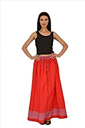 SNS Pure Cotton Jacquard Solid Long Maxi Skirt with Printed Border