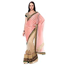 Suchi Fashion Cream Lycra And Net Border Worked Wedding Saree