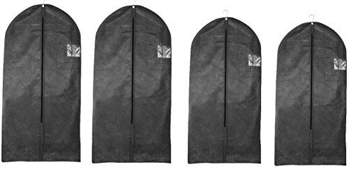 4er Kleidersack-Set-2 Größen-schwarz-atmunksaktiv-mottensicher Reißverschluß Anzüge,Hemden,Kostüme für Reisen sehr leicht
